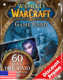 world of warcraft 60days pre-paid game card us discount promo