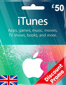 itunes gbp50 gift card uk discount promo
