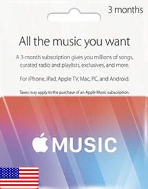 apple music 3 months membership us