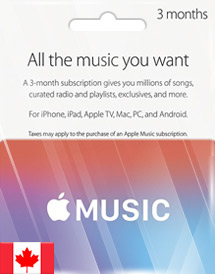 apple music 3 months membership ca
