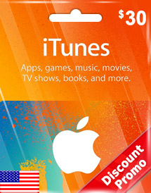 itunes usd30 gift card us discount promo