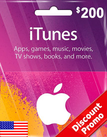 itunes usd200 gift card us discount promo