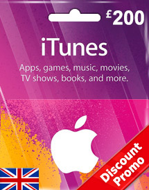 itunes gbp200 gift card uk discount promo