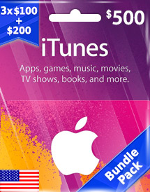 itunes usd500 gift card us bundle pack