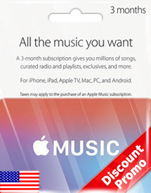 apple music 3 months membership us discount promo