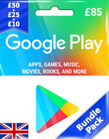 gbp85 google play gift card uk bundle pack