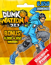 dunk nation 3x3 6,650 diamonds global discount promo