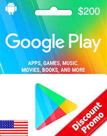 google play usd200 gift card us discount promo