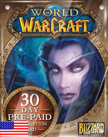 world of warcraft 30days pre-paid game card us