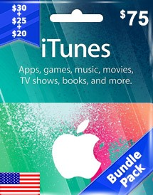 itunes usd75 gift card us bundle pack