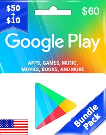 google play usd60 gift card us bundle pack