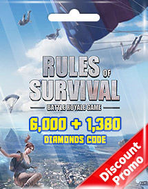 rules of survival 6,000 + 1,380 diamonds code discount promo