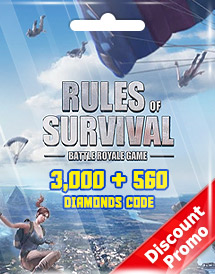 rules of survival 3,000 + 560 diamonds code discount promo
