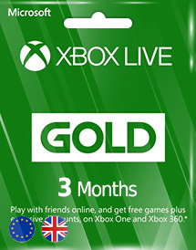 xbox live gold 3 months subscription eu/uk