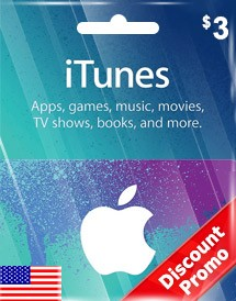 itunes usd3 gift card us discount promo