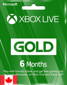 xbox live gold 6 months subscription ca