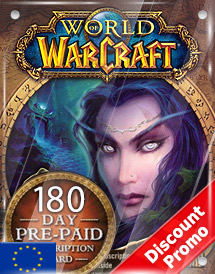 world of warcraft 180days pre-paid game card eu discount promo