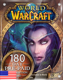 world of warcraft 180days pre-paid game card us