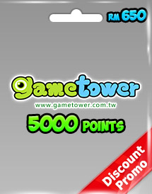 gametower 5000 gt points rm650.00 my discount promo