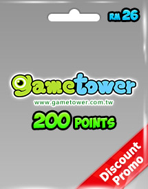 gametower 200 gt points rm26.00 my discount promo