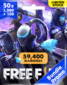 50x free fire 1,080 + 108 diamonds pins garena bundle promo