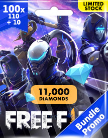 100x free fire 100 + 10 diamonds pins garena bundle promo