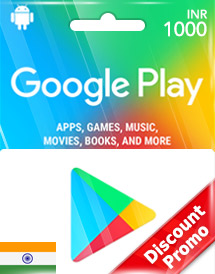google play inr1,000 gift cards in discount promo