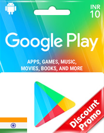google play inr10 gift cards in discount promo