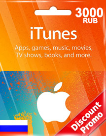 itunes 3,000rub gift card ru discount promo